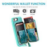 ZVE Wallet Case for Apple iPhone 6s Plus and iPhone 6 Plus, 5.5 inch, Leather Wallet Case with Crossbody Chain Credit Card Holder Slot Zipper Purse Case for Apple iPhone 6s / 6 Plus - Diamond