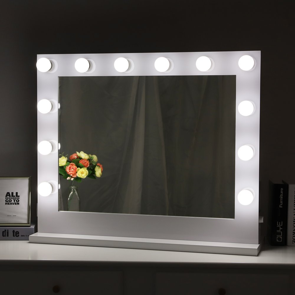 Chende White Hollywood Lighted Makeup Vanity Mirror Light Makeup