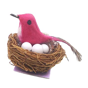 Amazon.es: FLAMEER Excelente Nido de Aves Miniatura para Casa de ...