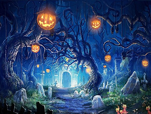 RBabyPhoto 7X5FT Halloween Horror Night Backdrop All Saints' Day Pumpkin Lamps Haunted Castle Tombstone Hallowmas Photography Background Trick Treat Masquerade Photo Studio Props Vinyl CK58 -