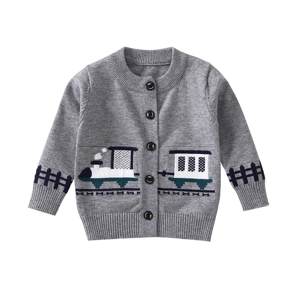 Little Kids Autumn Winter Cardigan,Jchen(TM) Toddler Kids Baby Girls Boys Cartoon Train Warm Coat Tops Sweater for 1-4 Y (Age: 3-4 Years Old, Gray)