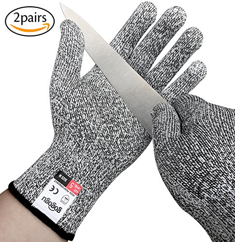 Gogogu 2 Pairs Cut Resistant Gloves Anti-Cutting Protective Gloves - High Performance Level 5 Protection, Food Grade Kitchen Safty Glove, EN388 Certified Hand Protection Gloves Cut Proof Gloves