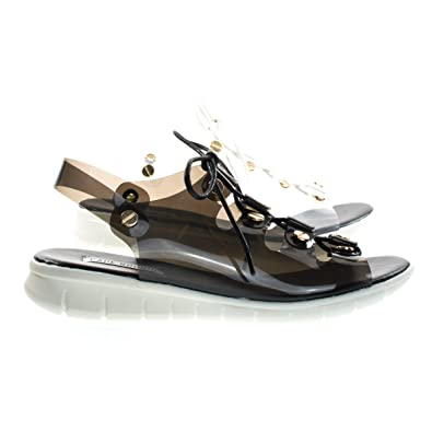 bb701297720a6 CAPE ROBBIN Like1 Black PVC Clear Lace Up Cage Flat Sandal w Metal Hardware    White