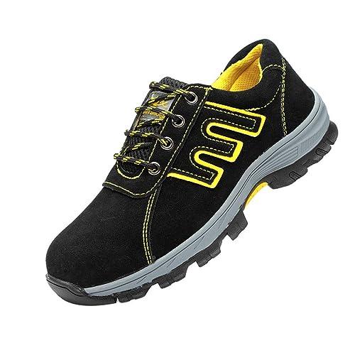 Hombre Ultra Ligeros Botas Transpirables Zapatillas De Deporte De Malla,Puntera De Acero Zapato Deportivo