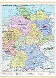 Deutschland, politisch 1 : 1 700 000. Wandkarte Mini-Format: Laminiert, beschreib- und abwischbar, besonders reißfest, Holzleisten mit Aufhängeschnur