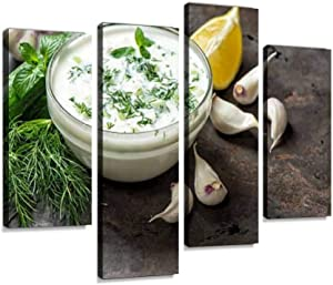 Tzatziki Sauce Ingredients Cucumber Garlic Healthy Food Canvas Wall Art Hanging Paintings Modern Artwork Abstract Picture Prints Home Decoration Gift Unique Designed Framed 4 Panel