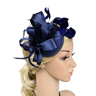 Sunzeus Feathers Bridal Hats Wedding Hair Accessories Satin Flora Women s  Party Hats Fascinators-Navy Blue a24e2c549fb