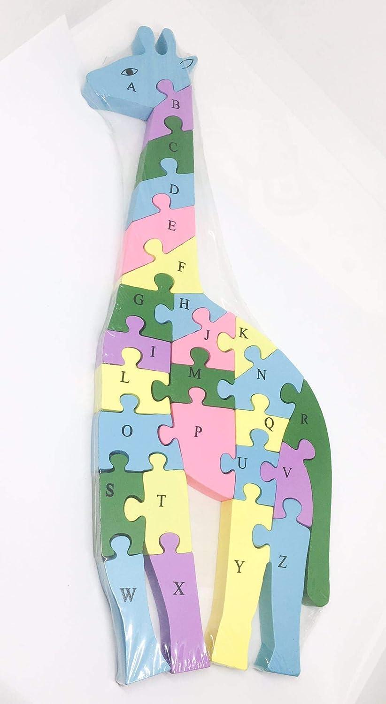 Madera Ousdy-Puzzle de Madera Rompecabezas 3D con Forma de Perro Coche 2 en 1 abecedario y n/úmeros de Dos Lados