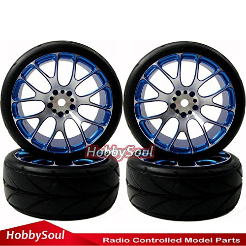 4pcs New RC 1/10 On Road Tires Soft & Alloy Aluminum Rims Hex 12mm