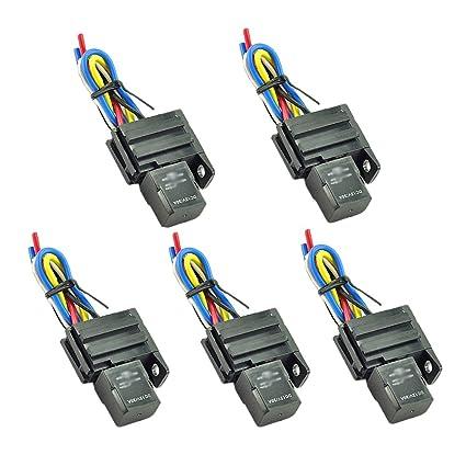 Amazon com: HOTSYSTEM 5x 12V 30A SPDT Relay & Socket 4Pin Relays 4