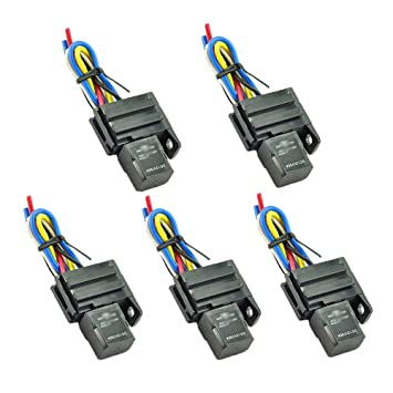 hotsystem 5x 12v 30a spdt relay \u0026 socket 4pin relays 4 wire forhotsystem 5x 12v 30a spdt relay \u0026 socket 4pin relays 4 wire for electric fan fuel pump horn car auto, accessory power amazon canada