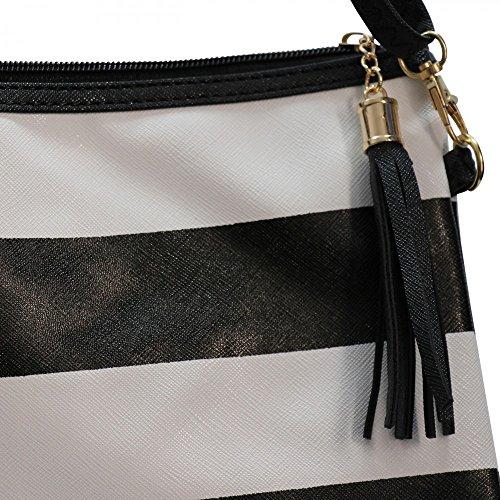 Shopping-et-Design-Pochette da sera, colore: nero e bianco a righe, in similpelle, colore: nero, in simil pelle