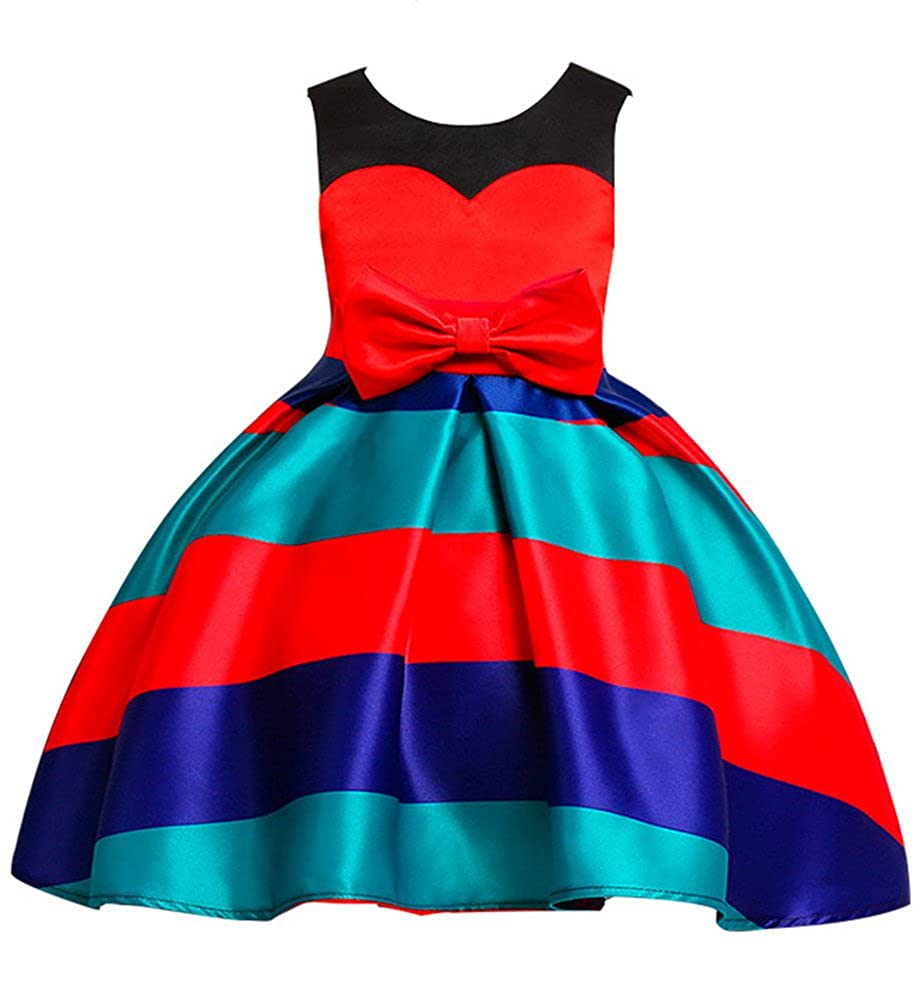 WEONEDREAM Stripe Knee Block Color Girl Dresses