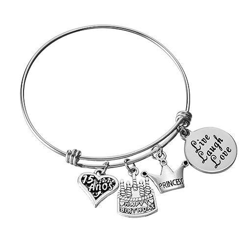 Sweet 15 cheer charm bracelet