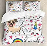 Unicorn Cat Duvet Cover Set Queen Size by Ambesonne, Comic Pop Art Style Fiction Animals Adorable Funny Faces Rainbow Horns Stars, Decorative 3 Piece Bedding Set with 2 Pillow Shams, Multicolor
