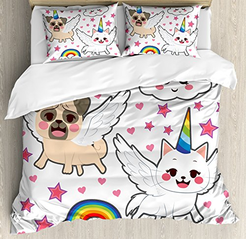 Unicorn Cat Duvet Cover Set Queen Size by Ambesonne, Comic Pop Art Style Fiction Animals Adorable Funny Faces Rainbow Horns Stars, Decorative 3 Piece Bedding Set with 2 Pillow Shams, Multicolor by Ambesonne