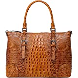 Vicenzo Leather Carole Croc Embossed Leather Tote (Brown)