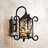 "spanish style house Casa Seville Rustic Outdoor Wall Light Fixture Mediterranean Inspired Dark Walnut Iron Scroll 13 1/4"" Champagne Hammered Glass for Exterior House Porch Patio - John Timberland"