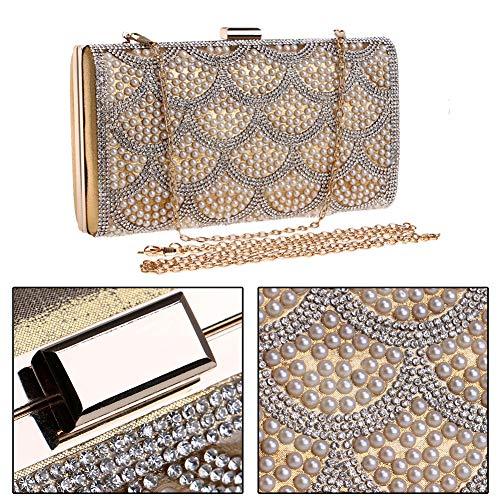 Fête pour Bourse Gold Sac Bal Soirée Sac Main Bandouliere à Chaîne Femme Pochette Clutch Maquillage Mariage OnwSa7g