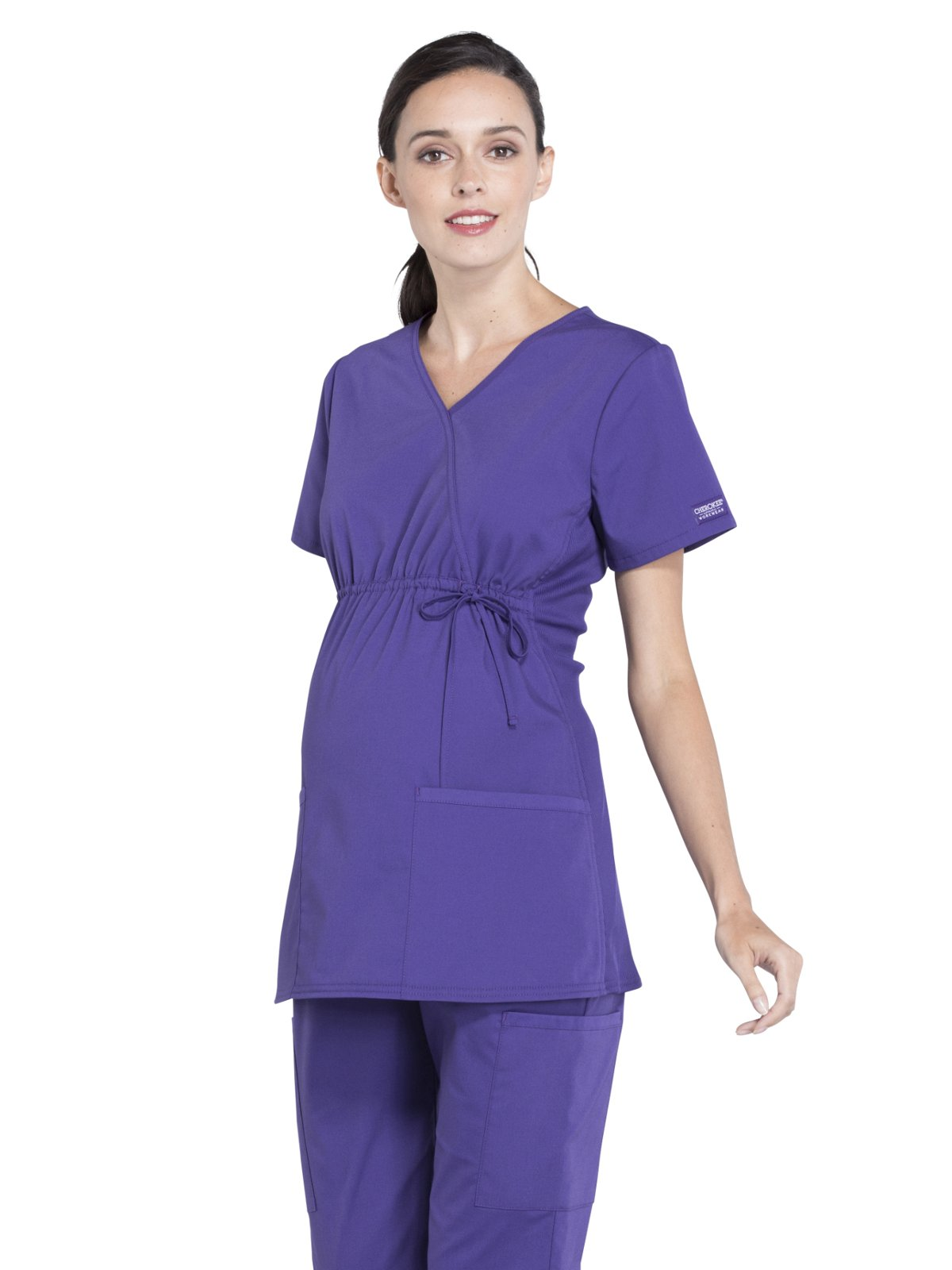 Cherokee Professionals by Workwear Women's Maternity Mock Wrap Soft Knit Panel Solid Scrub Top Small Grape