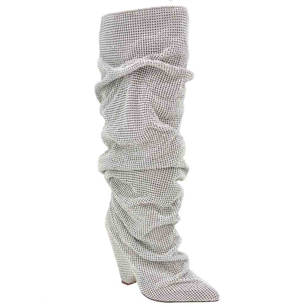 Olivia and James Embellished Rhinestone Crystal Covered Knee High Slouch Boot/Fall Winter Most Wanted Shoe Boot (11, Silver)