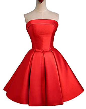 4c94d271f0 Homecoming Dress Satin Strapless Red Short Bridesmaid Dress A-Line Prom  Dresses at Amazon Women s Clothing store