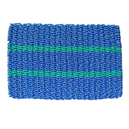 Lobster Rope Door Mats, Handwoven Nautical Rope Outdoor Reversible Entrance Mats, Blue with 2 Green Stripes, 24 x 36
