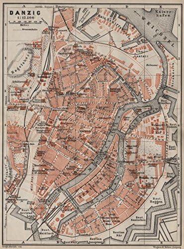 Amazon Com Gdansk Antique Town City Plan Miasta Gda Sk Danzig