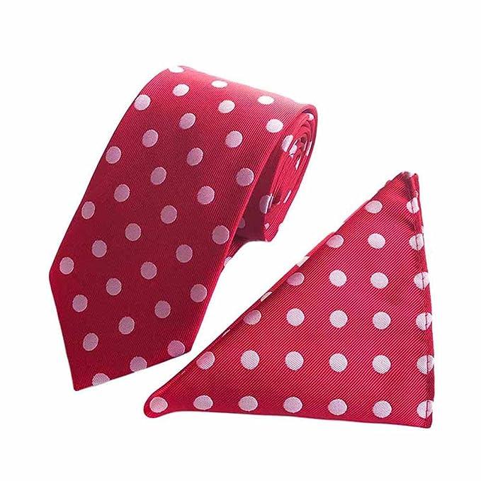 Amazon.com: mendeng corbata para hombre, color rojo y blanco ...