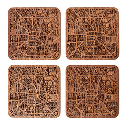 Houston Posavasos Mapa, Conjunto de 4, montana de madera Sapele con mapa de la ciudad, Hecho a mano