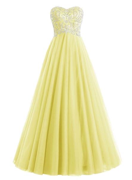 Bbonlinedress Vestido De Fiesta Boda Mujer Tul Escote Corazón Con Cuentas Amarillo 32