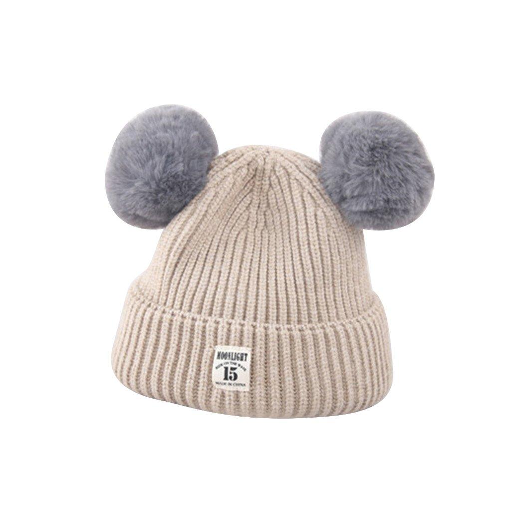 HEART SPEAKER Fashion Winter Warm Cap Cute Fur Ball Ears Baby Boys Girls Knitted Beanie Hat