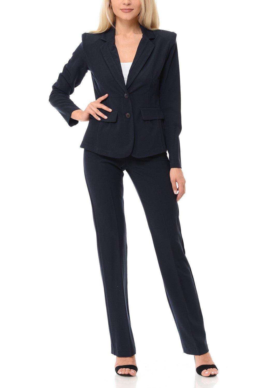 Woman Classic Wear to Office Work Pants Set(3094) (Medium, Navy)