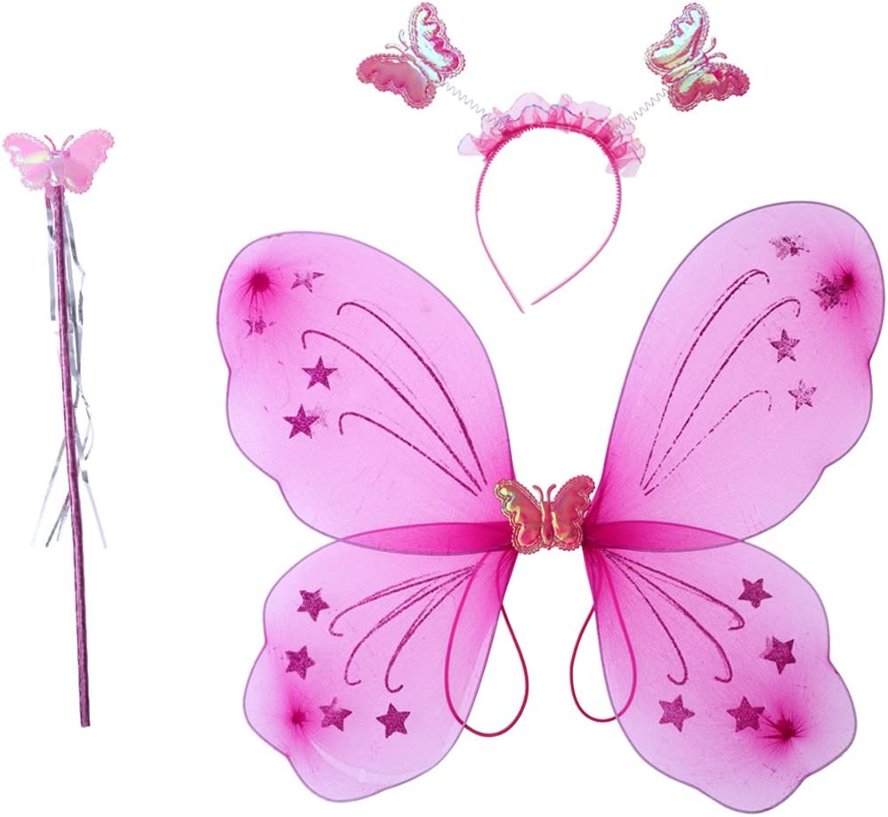 LUOEM Disfraz de Hadas Niña Mariposa Alas Varita Diadema Hada Juguete 3 Piezas (Rosa Roja)