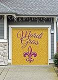Outdoor Mardi Gras Decorations Garage Door Banner Cover Mural Décoration 8'x8' - Mardi Gras Gold Glitter- ''The Original Mardi Gras Supplies Holiday Garage Door Banner Decor''