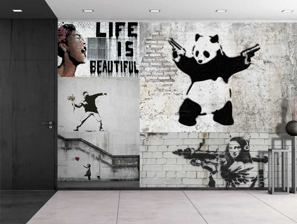 Wall26   Peel And Stick Wallpapaer   Banksy Art Series Collage | Removable Large  Wall Mural Creative Wall Decal   100x144 Inches