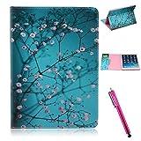 iPad Air Case, Firefish iPad Case [Kickstand] [Bumper] PU Leather Protective Skin Anti-Slip Lightweight [Card Slots] Case for Apple iPad Air - Blue Flower