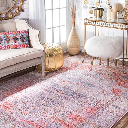 Blush Medallion (Vintage Antique Brick Medallion Blush Area Rugs, 5 Feet 3 Inches by 7 Feet 7 Inches (5' 3