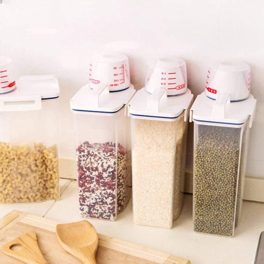 Topker Dispensador de Cereales Caja de Almacenamiento Caja de Cocina Alimentos harina de arroz Recipiente medidor de Humedad Copa Prueba del Insecto: ...