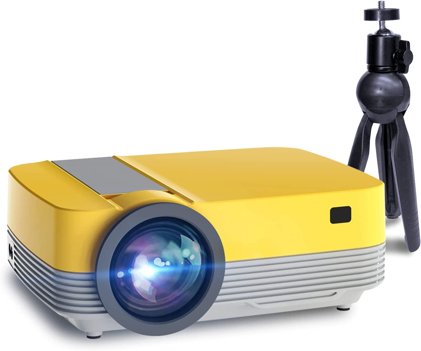 Mini Projector,Portable Movie Projector with Tripod,Outdoor Projector Native 720p Support 1080p,Home Theater Video Projector Compatible with Fire TV Stick,HDMI,USB,AV,PS5,Laptop