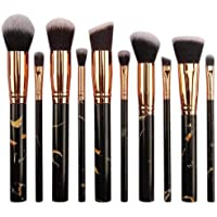 Makeup Brushes 10 Pcs Makeup Brush Set Marble Premium Synthetic Foundation Brush Blending Face Powder Blush Concealers…
