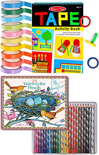 Melissa & Doug Tape Activity Book + Watercolor Pencils Rainbow 24 pack in Tin & 10 rolls Pack of colored paper - Diy Maleficent