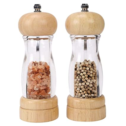 Xqxq Premium Acrylic Salt And Pepper Grinder Set Wooden Salt And Pepper Mills Shakers With Adjustable Ceramic Core Salt Grinder And Pepper Mill 65