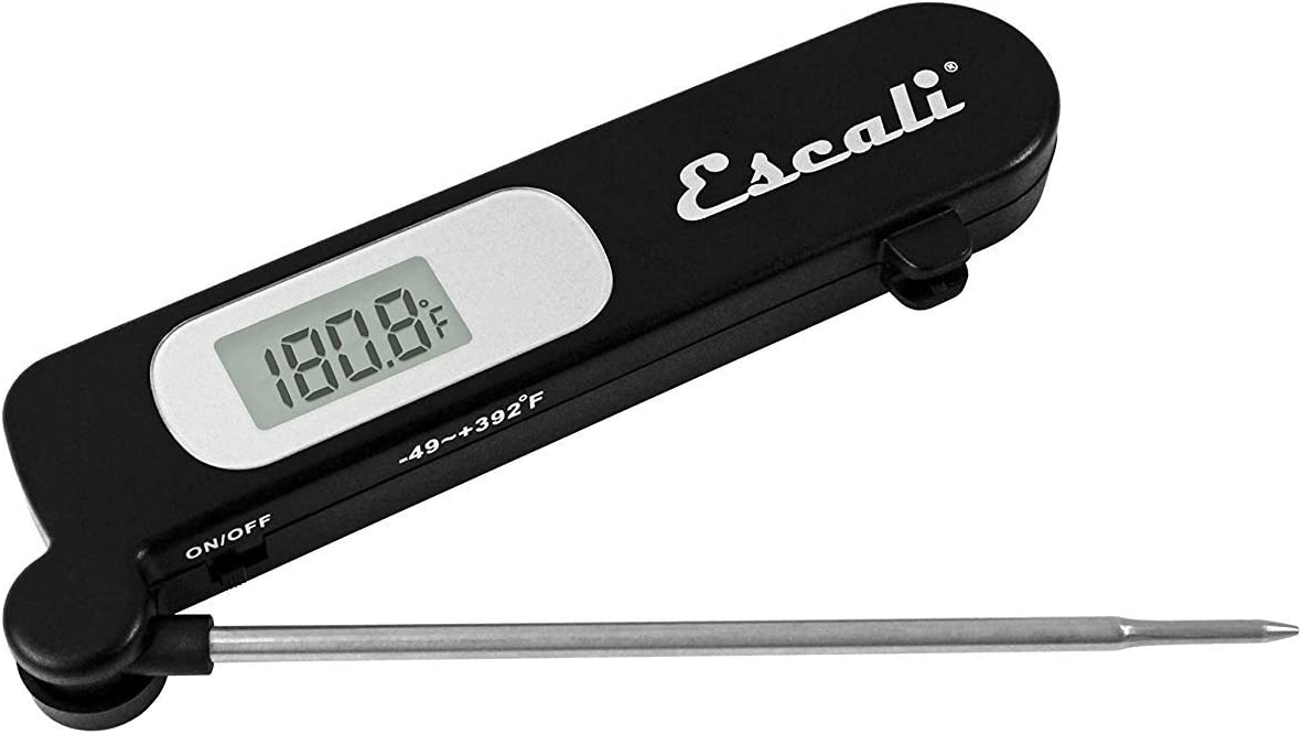 Escali DH3 Digital External Stainless Steel Thermometer, Custom Temperature Alert, Oven and Grill Safe Probe, Black