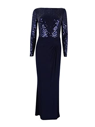72621e2bb52 Amazon.com  LAUREN RALPH LAUREN Women s Long Sleeve Sequin Maxi Dress Blue  4  Clothing