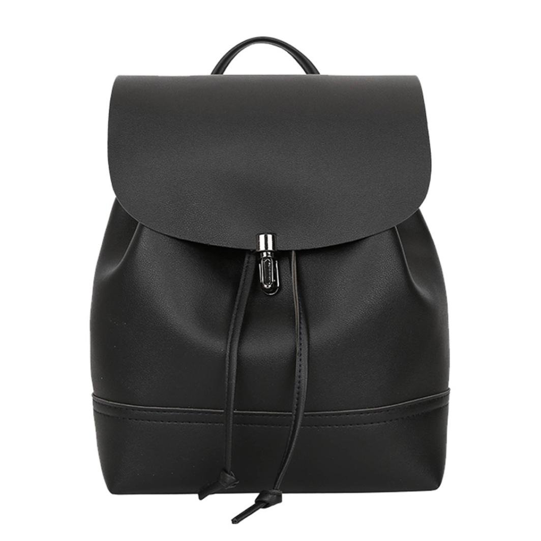 Amazon.com  Clearance sale ! Vintage Pure Color Leather School Bag Backpack  Satchel Women Trave Shoulder Bag ❤ ZYEE (Black 23e236f6ac1c5