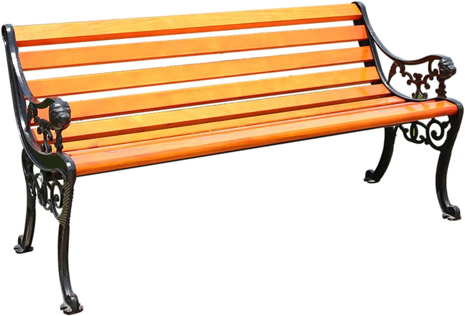 Terrace Park Bench Outdoor Bench, Balcony Garden Wooden slatted Bench with backrest and armrests, Cast Iron Frame and anticorrosive Solid Wood Seats, for porches, lawns, Entrance Chairs