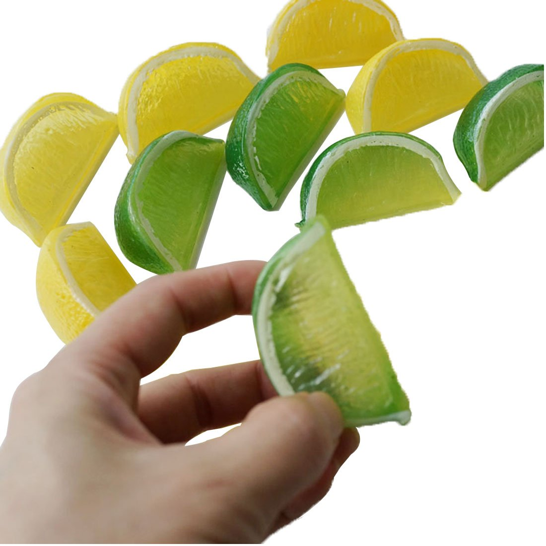 Lorigun 8pcs Fake Lemon Wedge Slice Garnish Artificial Fruit Lemon Block Faux Food House Bar Decoration Cocktail Party Arrangement(Green Yellow,Each Color 4Pcs)