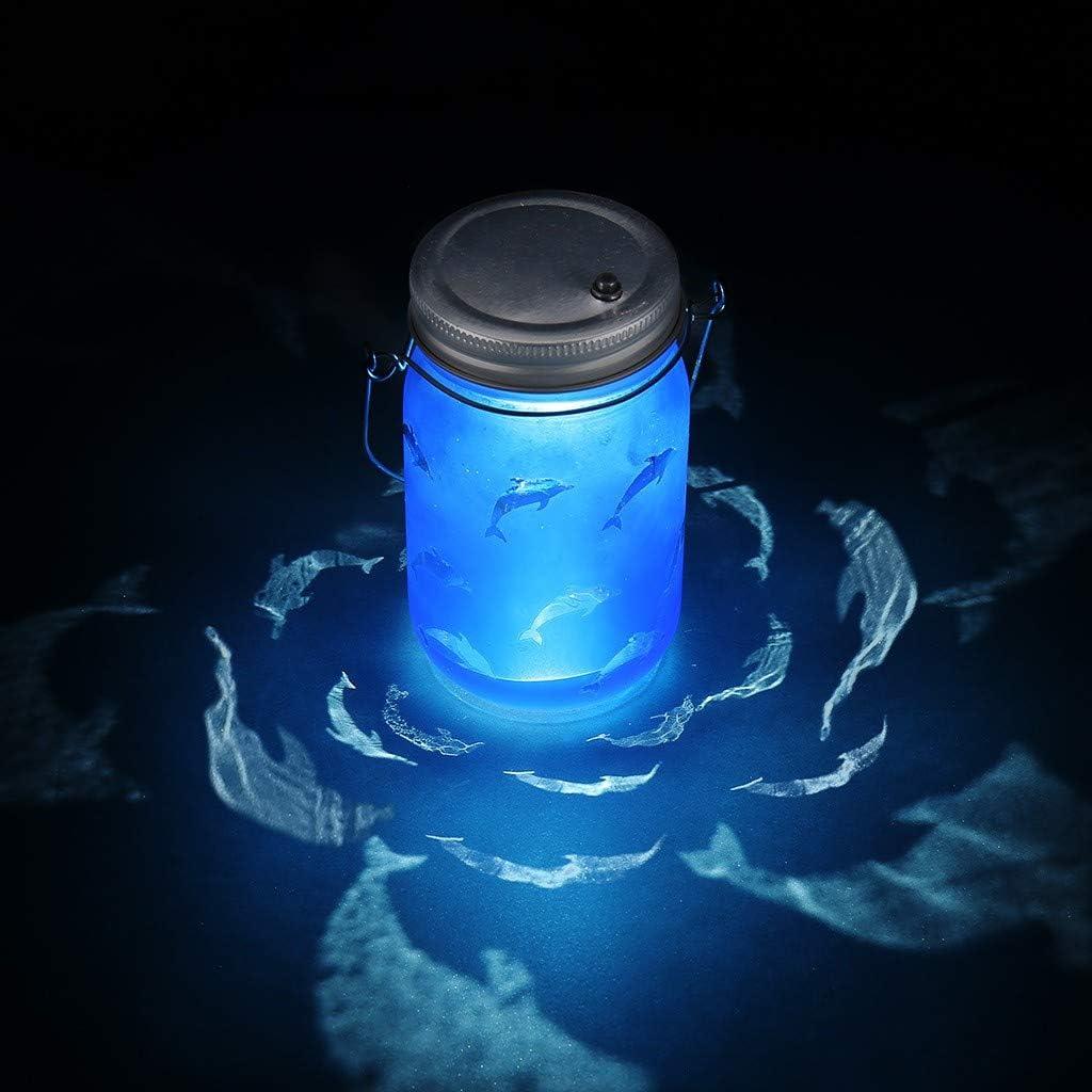 Celucke - Tarro de luz solar con diseño de delfines grabados ...