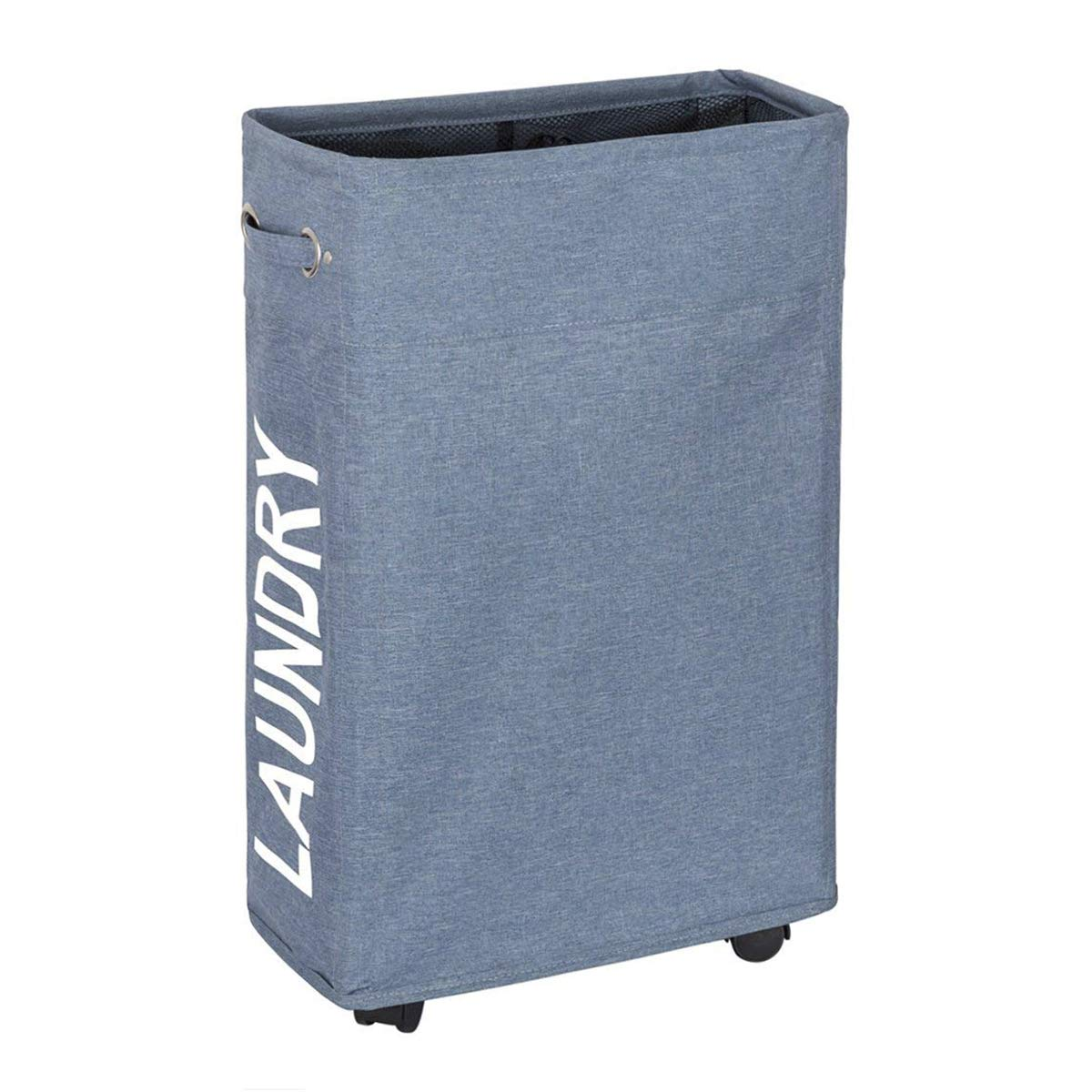 WISHPOOL Slim Rolling Laundry Hamper Foldable Laundry Basket with Handle on Wheels 15.4X7.8X22 Inch(Blue)